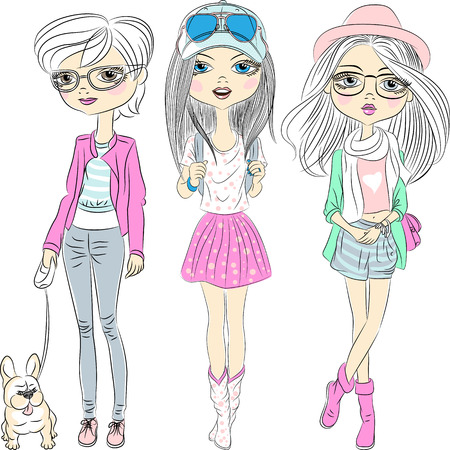 Vector Set hipster beautiful fashion girls Illustration