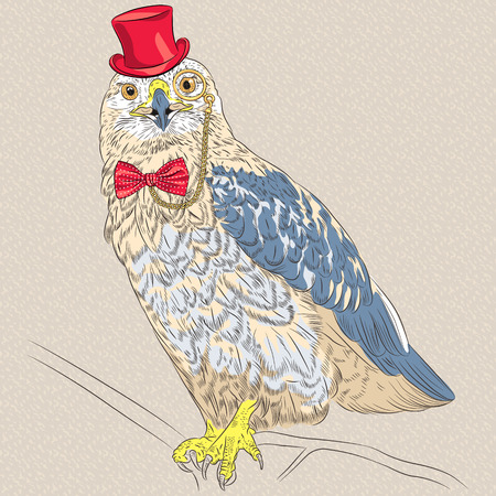 Vector funny cartoon hipster  bird Rough-legged Buzzard in a red hat, glasses and bow tie Vector