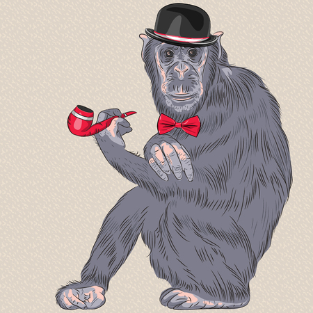 Vector hipster monkey Gentleman in black Bowler Hat and red bow tie with tobacco pipe Vector