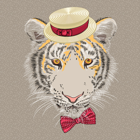 amur: Vector hipster amur tiger in a red hat and bow tie