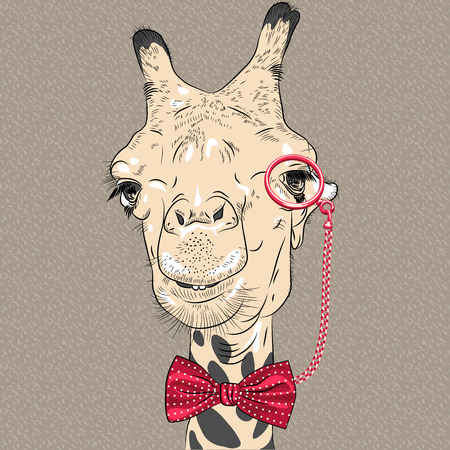 Vector sketch closeup portrait of funny camel hipster in red eyeglasses and bowtie Illustration