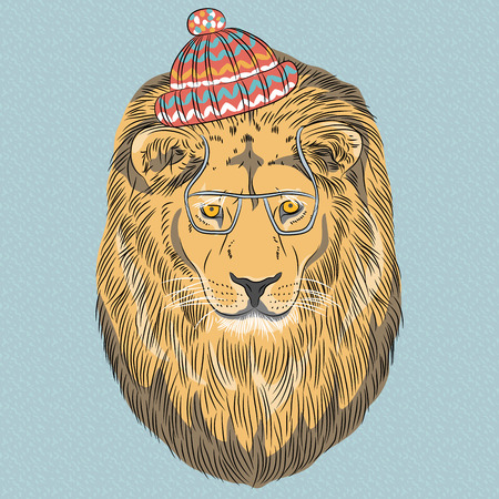 Vector hipster wild big cat lion a red striped hat and glasses Vector