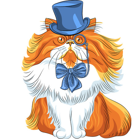 Vector hipster cute red fluffy Persian cat in a blue hat, glasses and bow tie Vector