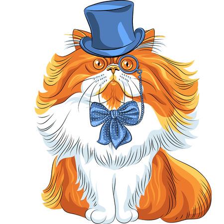 fluffy: Vector inconformista gato persa lindo rojo suave y esponjosa en un sombrero azul, gafas y pajarita