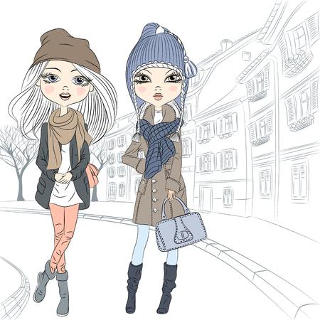 c cute: Vector Hermosas chicas de moda en el otoño y ropa de invierno