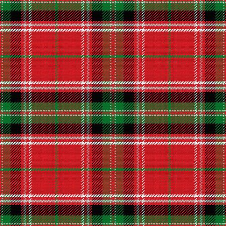 seamless pattern Scottish Stewart tartan, blue, white, green, red, yellow Illustration