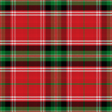seamless pattern Scottish Stewart tartan, blue, white, green, red, yellow Illustration