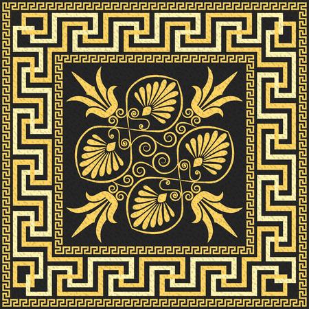 伝統的なヴィンテージ黄金広場ギリシャ飾り蛇行と黒の背景に花柄