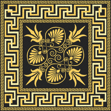 repeat square: Traditional vintage golden square Greek ornament  Meander  and floral pattern on a black background