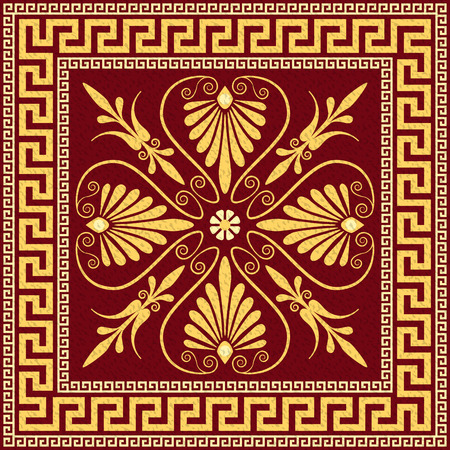 Traditional vintage golden square Greek ornament  Meander  and floral pattern on a black background