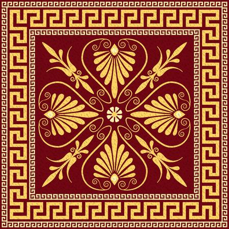 Traditionele vintage gouden vierkante Griekse ornament Meander en bloemmotief op een zwarte achtergrond Stock Illustratie