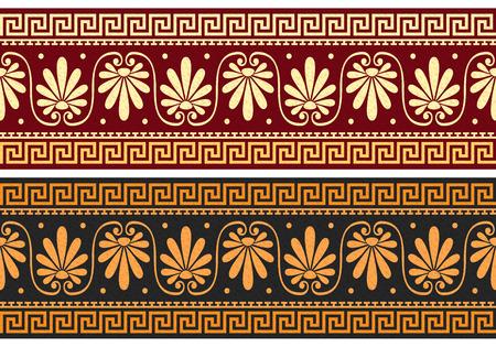 friso: establecer friso con la vendimia de oro y azul griega ornamento Meandro y estampado de flores sobre un fondo rojo y negro