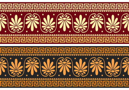 meander: set frieze with vintage golden and blue Greek ornament  Meander  and floral pattern on a red and black background