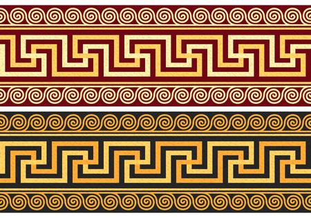 establecer friso con la vendimia de oro y azul griega ornamento Meandro y estampado de flores sobre un fondo rojo y negro