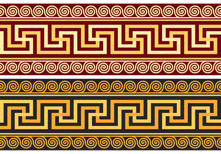 set frieze with vintage golden and blue Greek ornament  Meander  and floral pattern on a red and black background