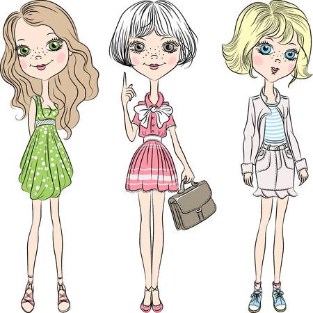 Set cute Beautiful fashion girl in short dress