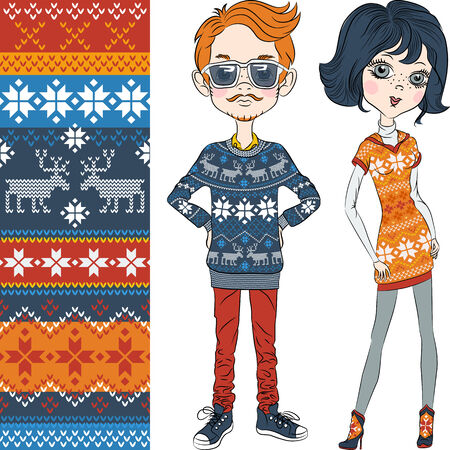 fashion hipster boy and girl in knitted sweaters with Norwegian seamless pattern Illustration