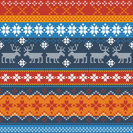 Traditional Norwegian pattern with reindeer and snowflakes