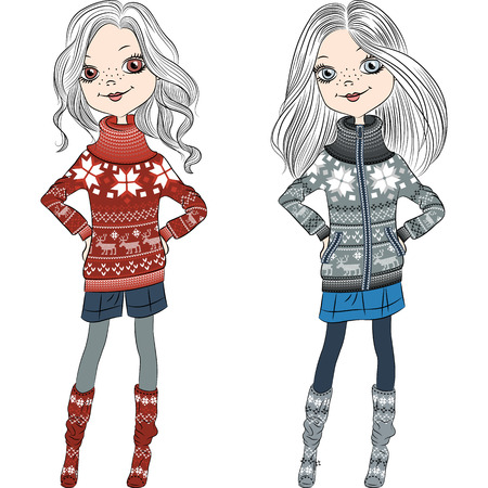 mod: fashion hipster girls in knitted sweaters with Norwegian seamless pattern Illustration