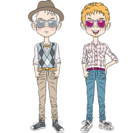 mr: two hipster guys  in a hat, glasses and bow tie Illustration