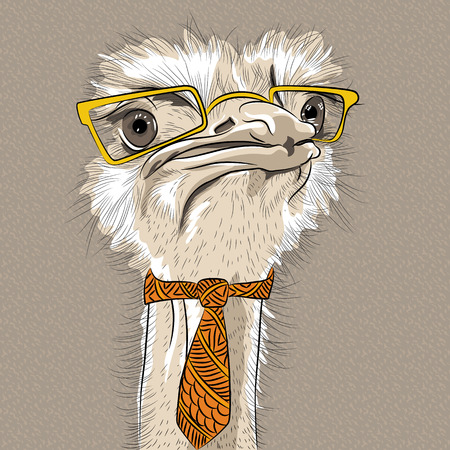 sketch closeup portrait of funny  Ostrich Bird hipster in yellow eyeglasses and tie Illustration