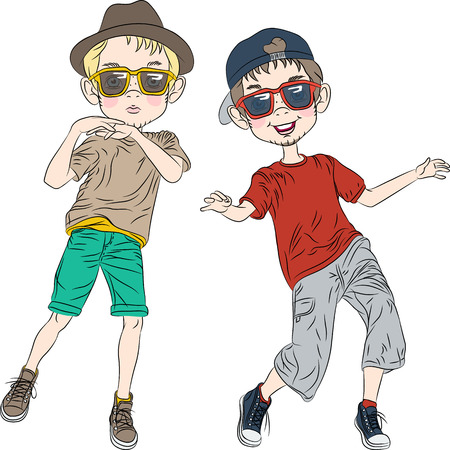 two hipster guys  in a hat and glasses dancing Vector