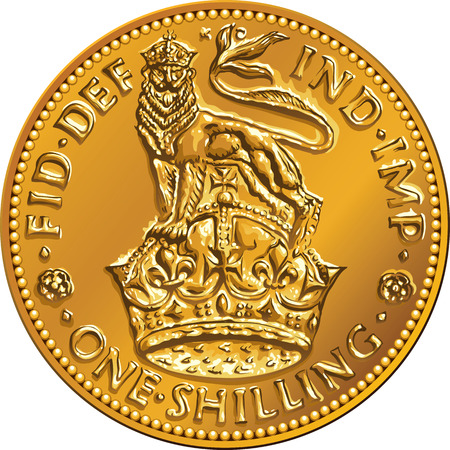 reverse: British money gold coin one shilling with the image of a heraldic lion and crown, isolated on white background Illustration