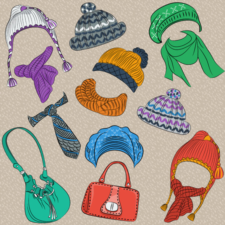 scarves: set hipster winter warm knitted hats and scarves