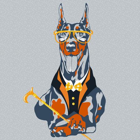 hipster hond Dobermann ras in glazen en een pak met een strikje en een wandelstok