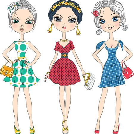 top model: set mooie mode meisjes topmodel in elegante jurken met polka dot patroon en met koppelingen Stock Illustratie