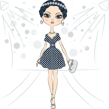 top model: beautiful fashion girl top model in a smart dress with polka dot pattern and with clutch on the catwalk Illustration
