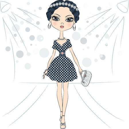 catwalk model: bella top model fashion girl in un abito elegante con motivo a pois e con frizione in passerella