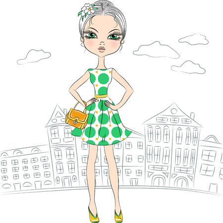 top model: mooie mode meisje topmodel in een slimme jurk met polka dot patroon en met de koppeling in de stad