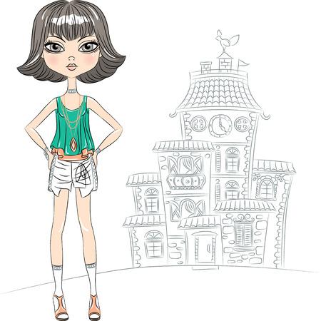 top model: hipster mooie mode meisje top model in een shirt en korte broek in de stad