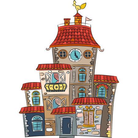 multistorey: fairytale cheerful multicolored multi-storey house on tue white
