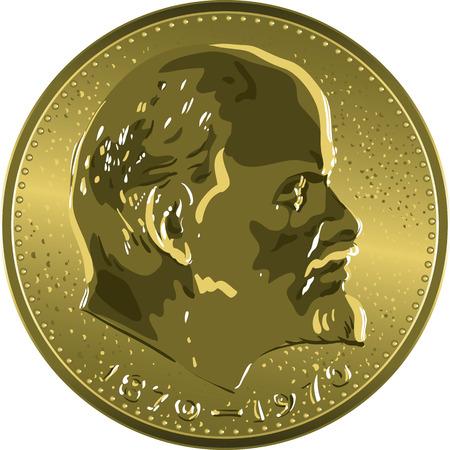 lenin: Money gold coin Soviet jubilee ruble with Lenin Illustration