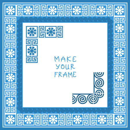 Frame with Traditional vintage blue square Greek ornament (Meander)  Vector