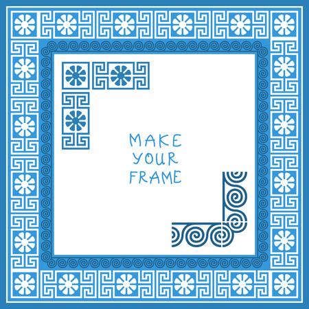 fret: Frame with Traditional vintage blue square Greek ornament (Meander)
