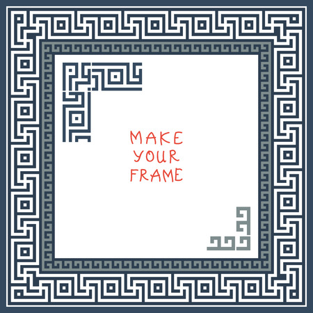 meander: Frame with Traditional vintage white and gray square Greek ornament (Meander)  Illustration