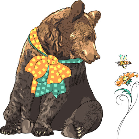 bee pollen: funny cartoon hipster bear with bow watching a bee flying over a bright flower