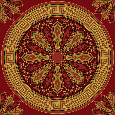 meander: seamless Traditional vintage golden round Greek ornament (Meander) and floral pattern on a red background