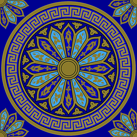 meander: seamless Traditional vintage golden round Greek ornament (Meander) and floral pattern on a blue background