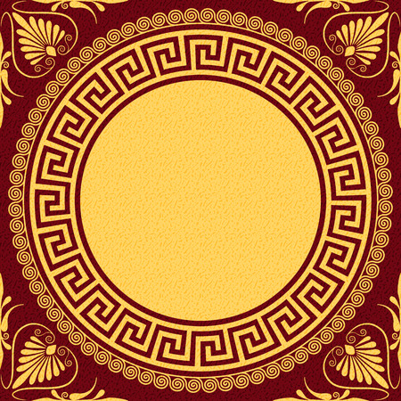 set Traditional vintage golden round Greek ornament  Meander  and floral pattern Ilustração