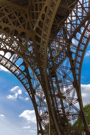 Bottom view on Eiffel tower  La Tour Eiffel  in Paris, France photo