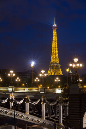 Eiffel Tower  Tour Eiffel  and Pont Alexandre III at night illumination