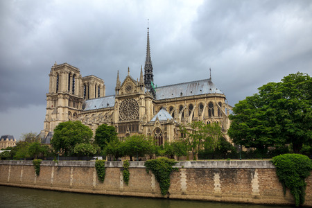 The southern facade of Cathedral of Notre Dame de Paris Stock Photo