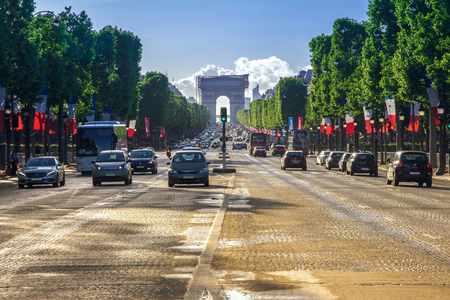 elysees: Arc de triomphe Paris  Arch of Triumph and Champs Elysees  afternoon Editorial