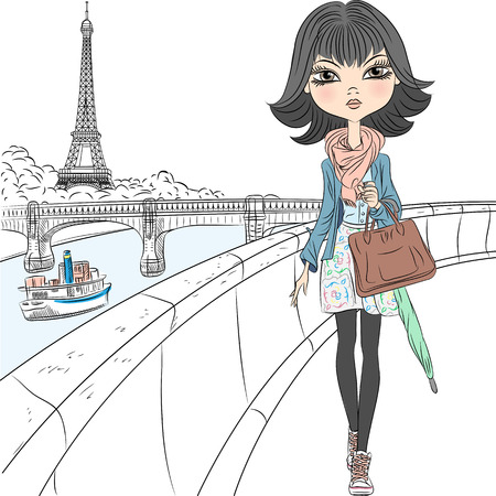 waterfront: Beautiful fashion girl in a scarf with an umbrella and a bag walking on the waterfront overlooking the Eiffel Tower in Paris