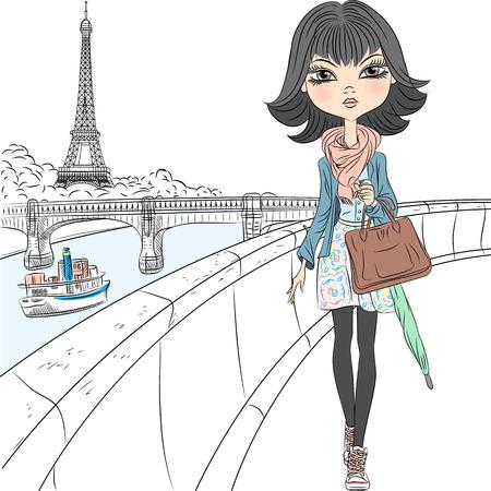 Mooie mode meisje in een sjaal met een paraplu en een zak lopen aan de waterkant met uitzicht op de Eiffeltoren in Parijs