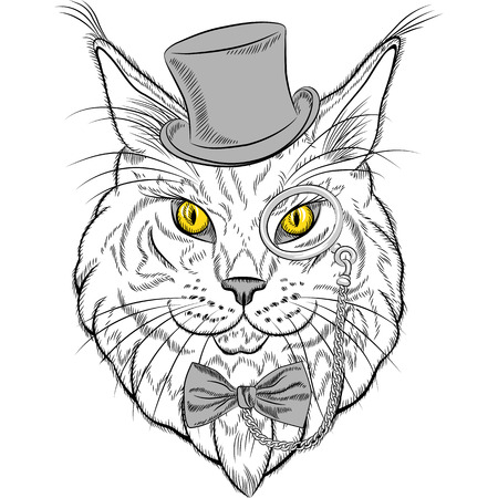 sketch closeup portrait of funny Maine Coon cat hipster in the red hat, pince-nez eyeglasses and bowtie Vector
